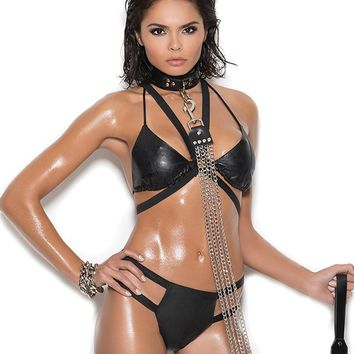 Leather String Bra Set