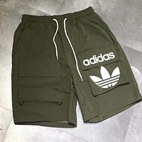 Adidas Summer Popular Men Women Loose Print Running Sport Shorts Army Green