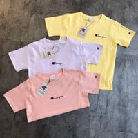 champion macarons embroidery logo t shirt