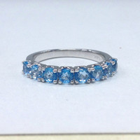 Topaz Wedding Ring,14K White Gold,3mm Round Cut Swiss Blue Topaz,Eternity Band,Anniversary Ring,Fashion Fine Ring,Stackable
