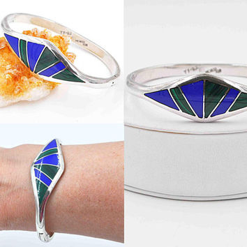 Vintage Taxco Sterling Silver Hinged Bangle Bracelet, Green Malachite, Blue Enamel, Flared, Inlaid, Mexico, 35.3 Grams, Bold! #c497