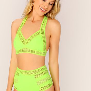 Neon Lime Lace Insert Halter Bra Top and Shorts Set