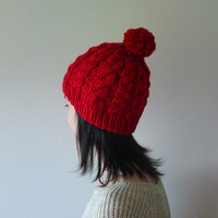 Hand Knitted Cable Chunky Beanie in Red - Beanie with Pom Pom - Seamless - Wool Blend - Winter Fall - Ready to Ship