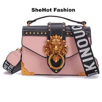 Fashion Metal Lion Head Shoulder Bag Clutch Handbag