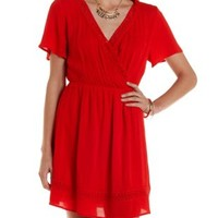 Red Crochet-Trim Wrap Dress by Charlotte Russe