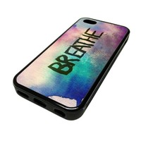 Apple iPhone 5C 5 C Case Cover Breathe Watercolor Canvas DESIGN BLACK RUBBER SILICONE Teen Gift Vintage Hipster Fashion Design Art Print Cell Phone Accessories