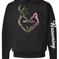 Love Logo Hoodie, Browning Down Sleeve, Camo Design