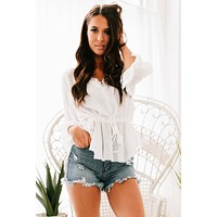 Like Usual Ruffled Tie Waist Top (White)