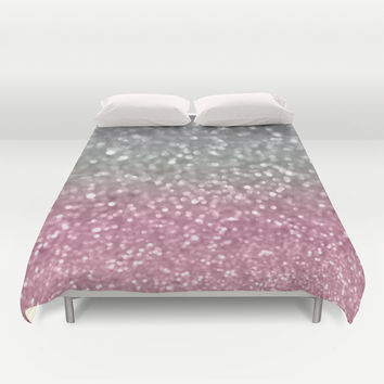 Gray and Light Pink Duvet Cover by Lisa Argyropoulos