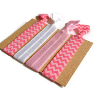 Elastic Hair Ties Pink and White Chevron Yoga Hair Bands