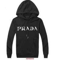 Prada Women Men Casual Long Sleeve Top Sweater Hoodie Pullover Sweatshirt-1