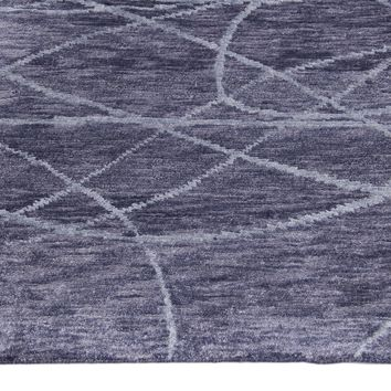 Abstract Dark Grey & Blue Color Hand Knotted Tibetian Modern Style Bamboo Silk Area Rug