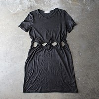 cutout short sleeve dress - black