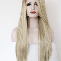 Fashion Ombre Blonde Glueless Lace Front Wigs 2 Tone Color Light Brown Roots . Side Part Long Natural Straight Heat Resistant Synthetic Hair Replacement Wig For Women Half Hand Tied