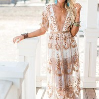 In the Deep Lace Maxi Romper - Rainbow