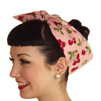 Pink Cherry Polka Dot Head Wrap Scarf