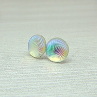 Faux Shell Earrings on Plastic Posts for Metal Sensitive Ears, Iridescent Color Changing Rainbow
