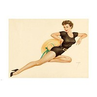 VINTAGE sexy pin-up GIRL poster 24X36 HOT leggy buxom BRUNETTE rare prized!