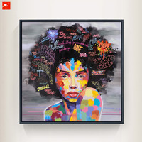 New 2 Pieces Graffti Street Wall Art Abstract Modern African Women Portrait Canvas Oil Painting Printed+Painted For Living Room