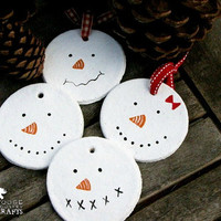 Primitive Snowmen ornaments - salt dough snowmen ornaments/gift tags, rustic,