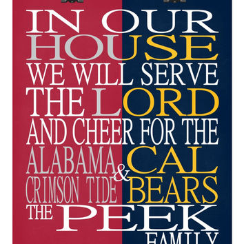 A House Divided - Alabama Crimson Tide & Cal Bears personalized family poster Christian gift sports art -multiple sizes