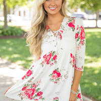 A Storybook Ending Floral Blouse Ivory