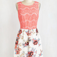Kensie Mid-length Sleeveless A-line Coral of the Story Dress