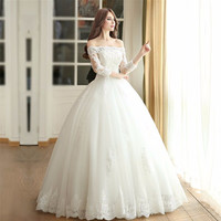 Newest Boat Neck Lace Appliques Beaded Ball Gown Wedding Dresses 3/4 Sleeve Floor-Length Bridal Gowns