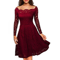 Robe Femme Sexy Vintage Floral Lace Dress Women Elegant Long Sleeve Retro Style