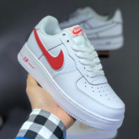 HCXX N1431 Nike Air Force 1 AF1 Casual Solo Cushion Skate Shoes White Red