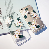 Flower Brand Case Cover for iPhone 6 6s Plus TPU Transparent Soft Floral Mobile Phone Cases for iPhone 6 6s Plus   K670