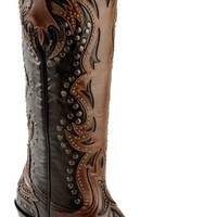 Corral Cognac Overlay Studded Cowgirl Boots - Snip Toe - Sheplers