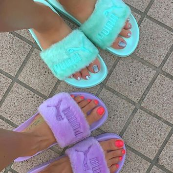 shosouvenir : Puma X Rihanna Leadcat Fent Lover Fur Slipper Shoes Fresh Colorful