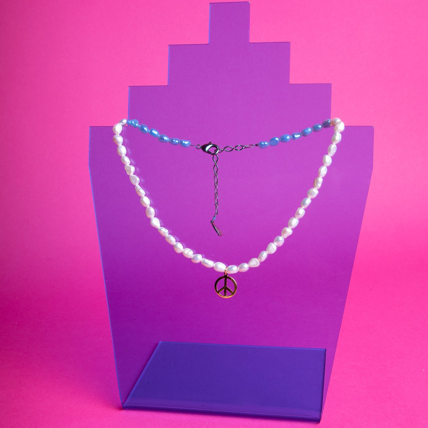 Image of Pearl Peace Charm Necklace