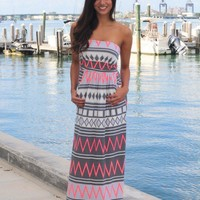 Gray And Neon Pink Maxi Dress With Pockets
