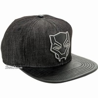 Licensed cool Marvel Black Panther Embroidered Logo Chambray Genuine Snapback Hat PU Bill NWT