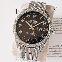 Rolex new men's and women's diamond-studded mosaic color watch fashion luxury steel band watch