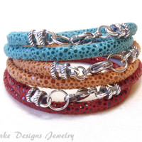 ONE Leather wrap Bracelet red, orange or turquoise boho bracelet sterling silver and leather bracelet silver