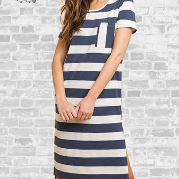 Striped High - Low Tee Dress - Denim Blue - Small or XL only