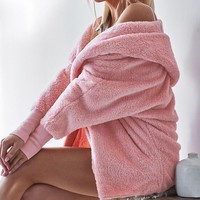 2018 Faux Fur Coat Women Fluffy Warm Outwear Plush Hooded Hairy Women Winter Coat Pink Loose Cardigan Trench Pure Color