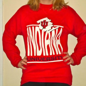 90s Indiana University Hoosier Red Basketball Crewneck Sweatshirt, 1990s IU Pullover Sweater