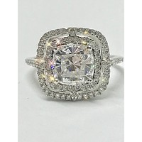 SALE  A Flawless 4CT Asscher Cut Double Halo Russian Lab Diamond Engagement Ring