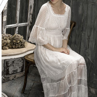 Free Shipping 2016 New Spring High Quality  Women's Long Nightgowns  Beige Pijamas Lace Embroidery Sleepwear Vintage  Nightgown