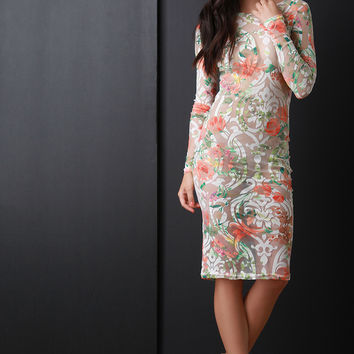 Mesh Lace Floral Print Long Sleeve Bodycon Dress