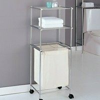 Chrome finish metal bathroom accessory 3 tier laundry cart with linen laundry bag and casters
