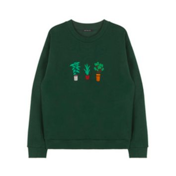Plant Embroidered Sweatshirt by Cloud 97