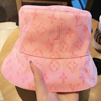 LV Fashion New Monogram Print Women Men Cap Fisherman Hat Pink