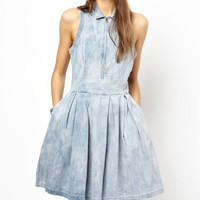 Blue Denim Sleeveless Skater Dress
