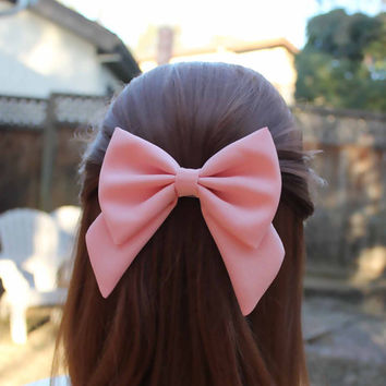 """4.5"""" light salmon pink hair bow, fabric hair bow with tails, big hair bow, solid color hair bow, kids pink hairbow clips, girls bow barrette"""