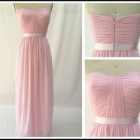 Pink Chiffon Bridesmaid Dress Strapless Simple Prom Dress Long Party Dress Formal Gown